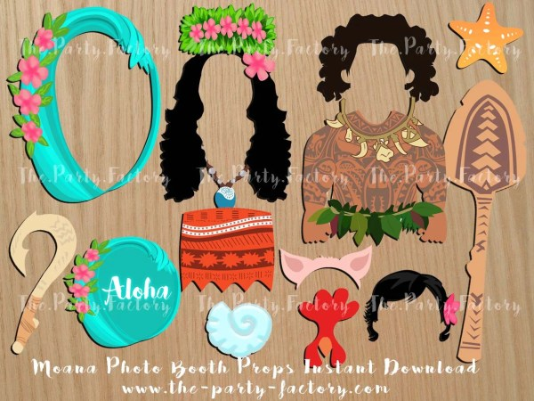 Moana themed Photo Booth Props Instant Download Digital File