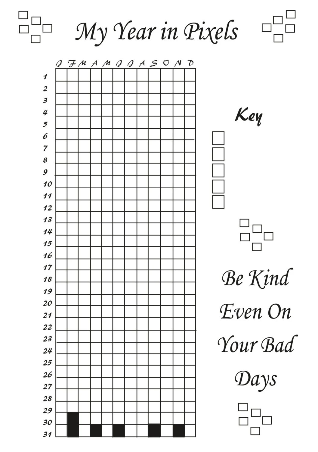 Printable Life in Pixels Bujo Style Mood Tracker from