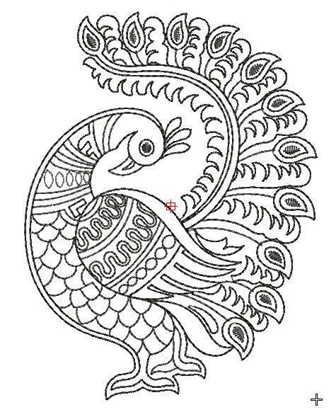 peacock embroidery design, peacock machine embroidery file