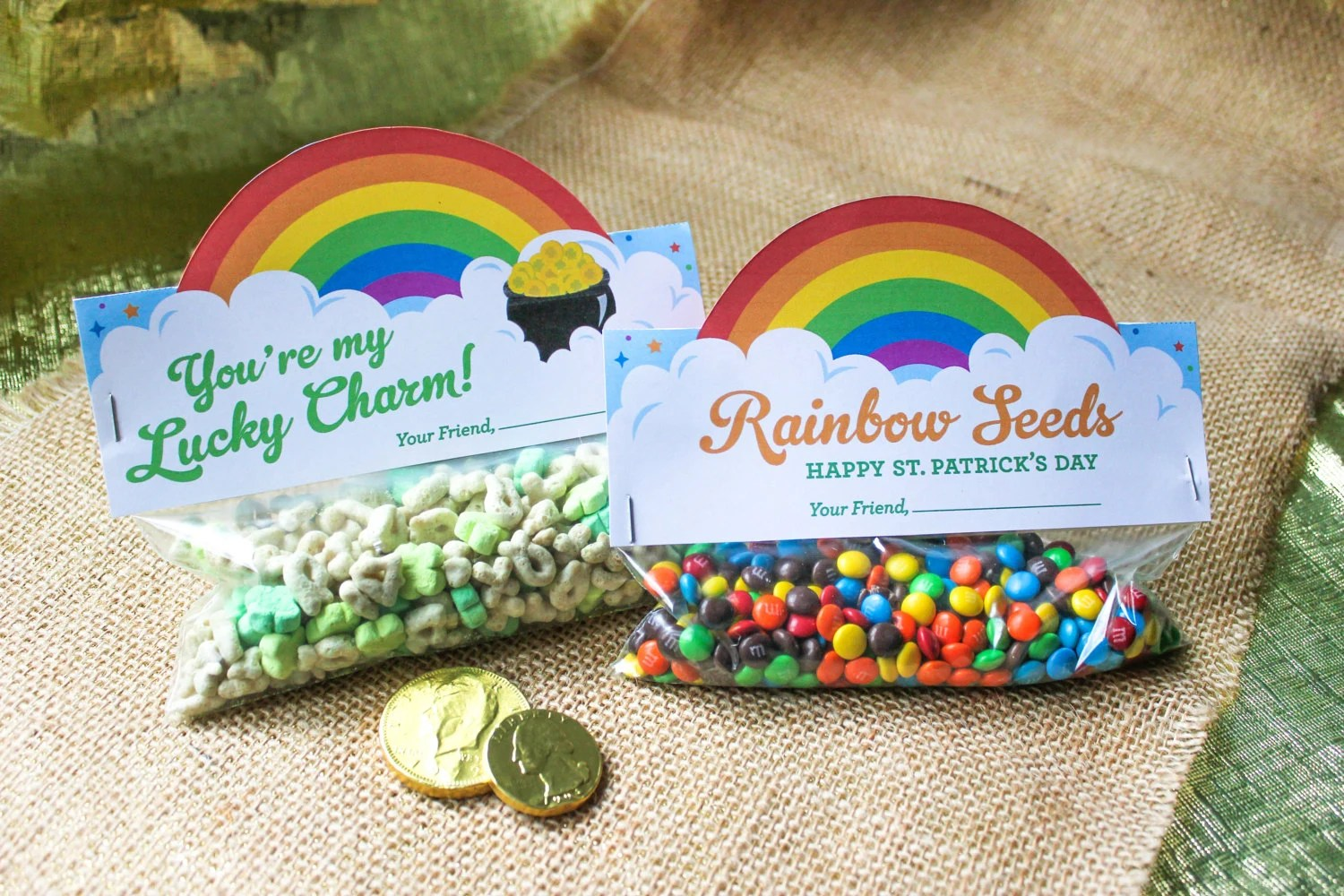 St Patrick S Day Treat Bag Toppers Printables Rainbow