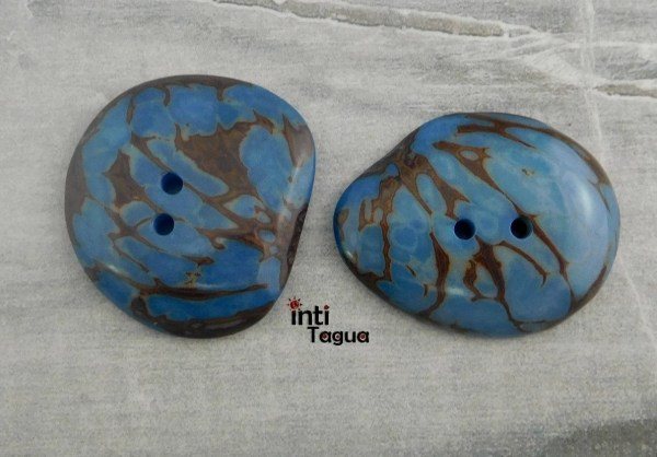 Tagua Slice Button Light Blue Marble Color 2 Ideal