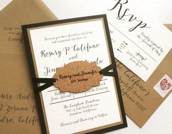 Winery Wedding Invitation With Wine Cork Hangtag SAMPLE