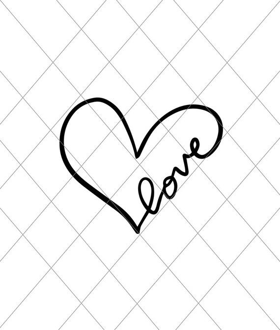 Download INSTANT SVG/DXF heart love script svg cut file svg vector