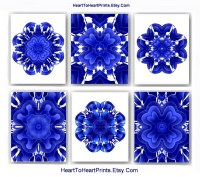 Floral Bedroom Wall Decor Navy Blue White Wall Art Royal