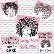 curly hair svg messy