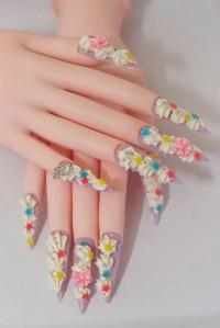 Nails, stiletto nails, super long nails, fairy kei ...