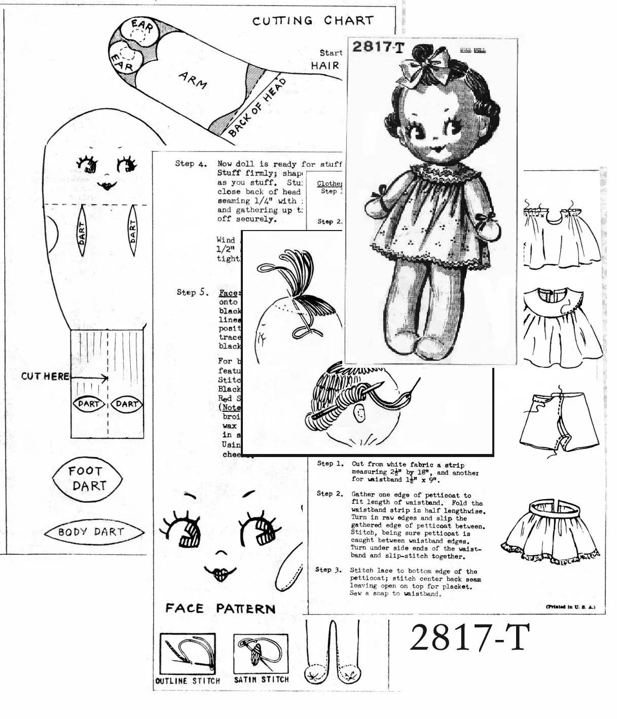 1950s Toy Stuffed Kewpie Doll Pattern Instant Download PDF