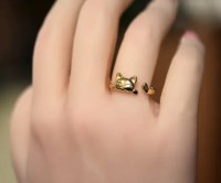 Gold cat ring Adjustable ring Gold plated Sterling Silver or