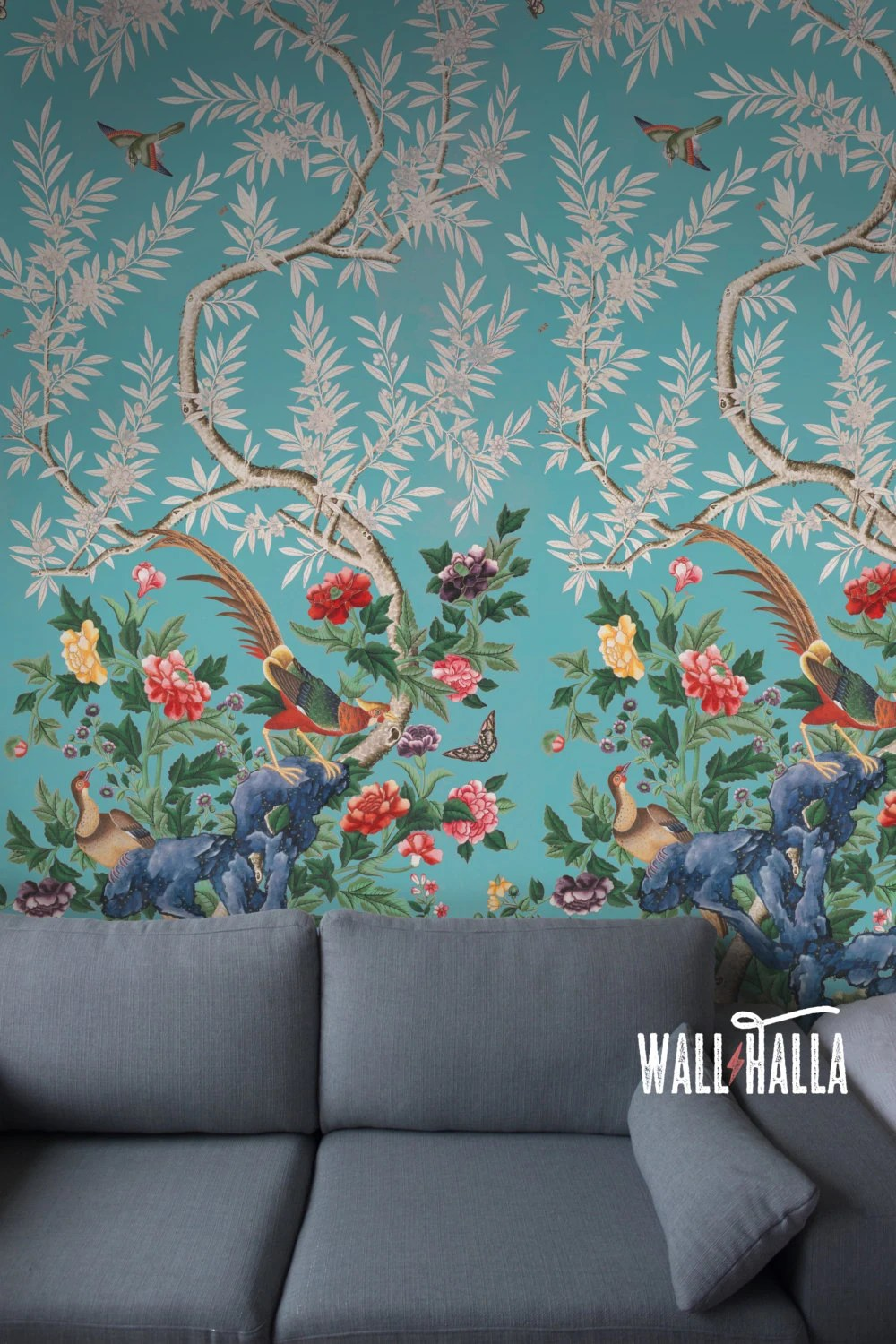 Seamless Chinoiserie Repeated Pattern Wallpaper Removable