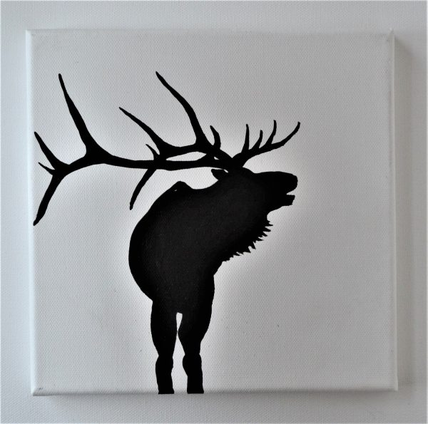 Elk Deer Stag Antlers Black And White Original Abstract Acrylic Painting Silhouette
