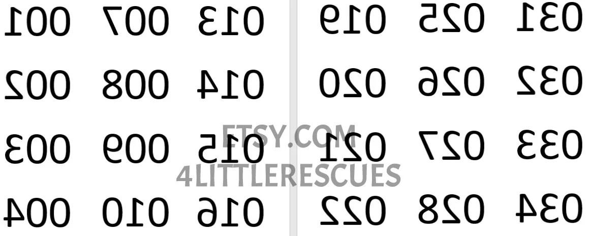 Mirror Image (Reverse) Backwards Numbers 1-180 / Numbered