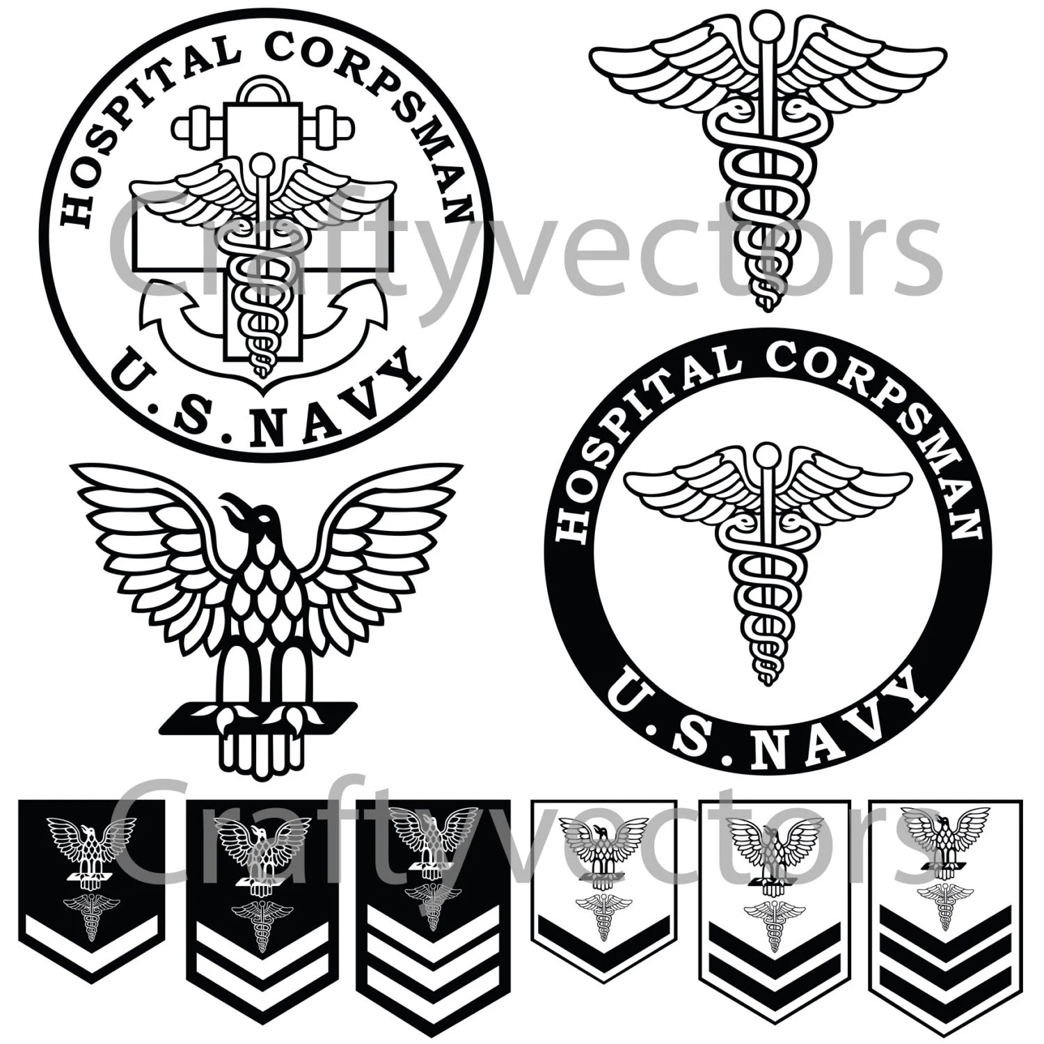 Us Navy Medic Corpsman Vector File Svg