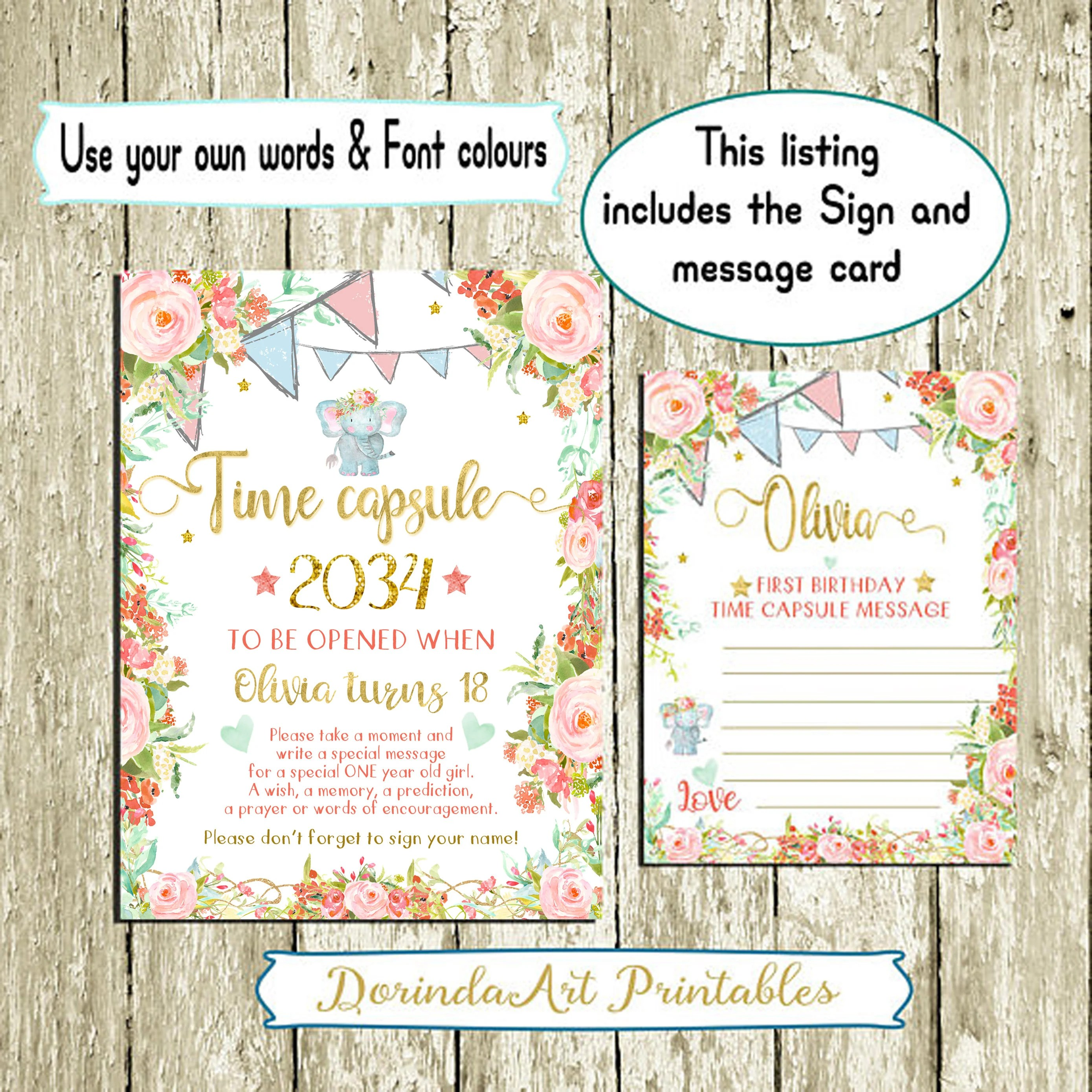 Time Capsule First Birthday Printable Floral Time Capsule Sign