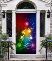 Items similar to Front Door Cover Christmas Decor 3D ...