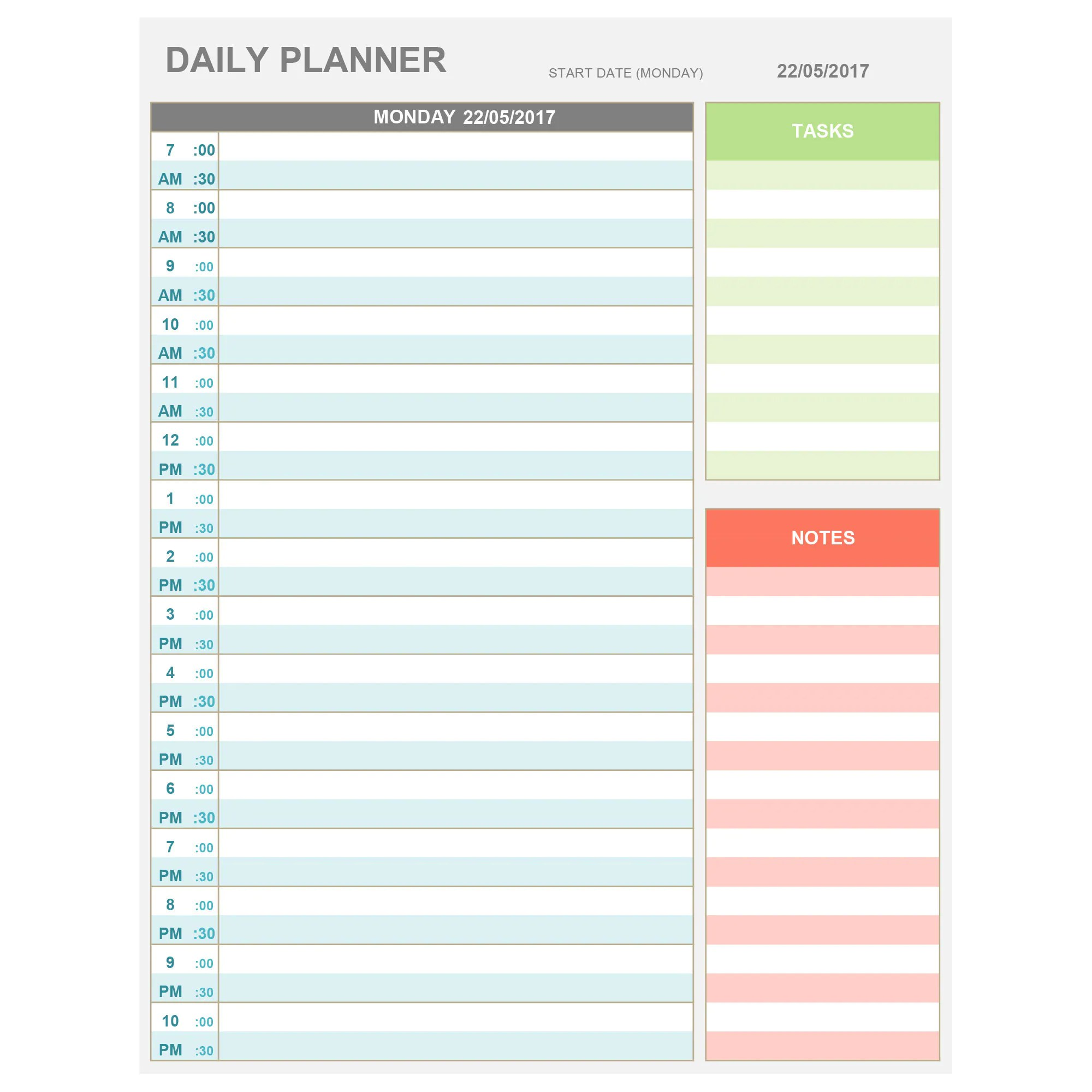 Excel Daily Hourly Planner Printable Amp Editable Daily