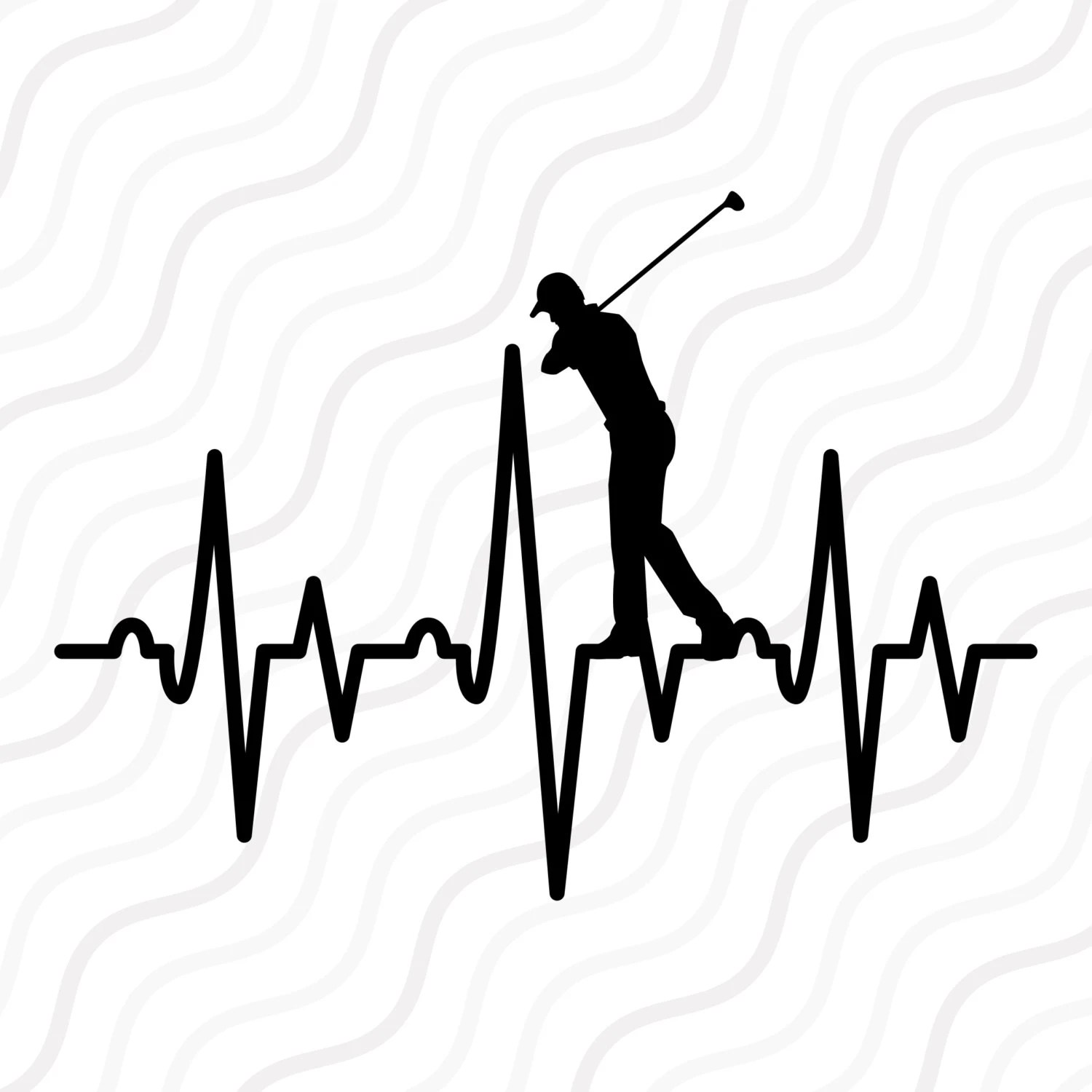 Golf Player Heartbeat Svg Golf Heartbeat Svg Cut Table