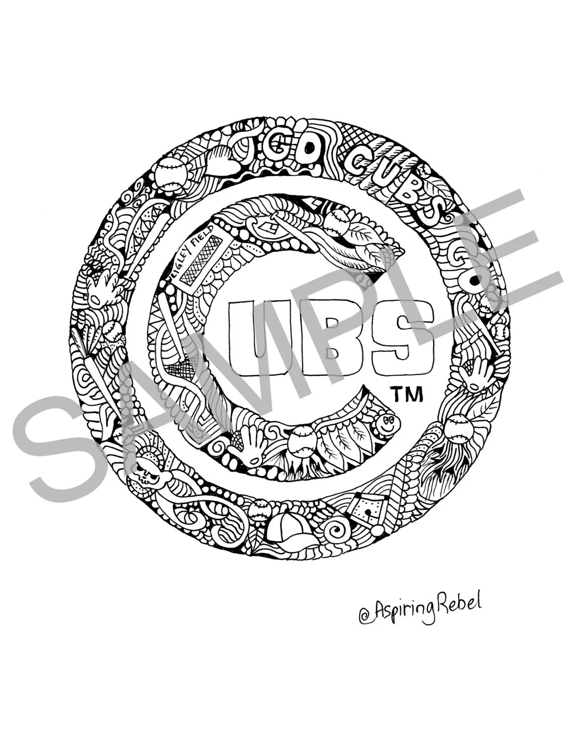 Chicago Cubs Doodle Coloring Page Adult Coloring Page Sports