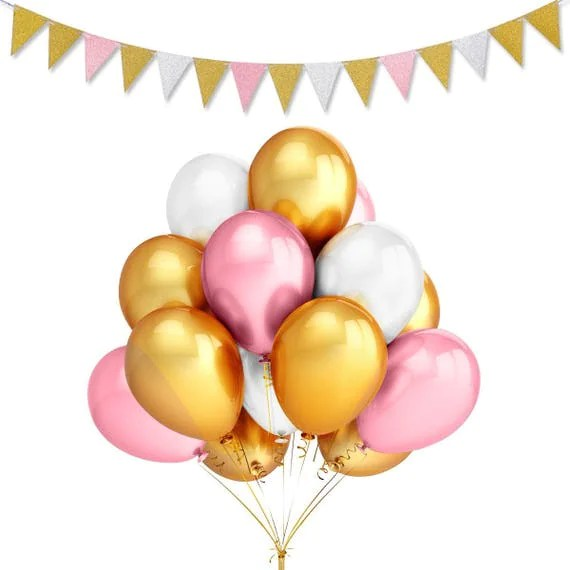 gold pink and white party balloons