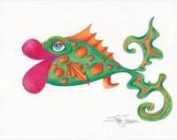 Whimsical Big Lip Fish Art Print-Art Fish-Fish
