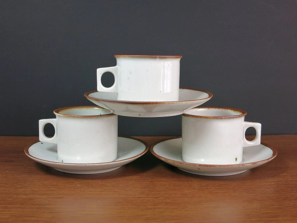 Dansk Brown Mist Cups And Saucers Design Ceramic Tea