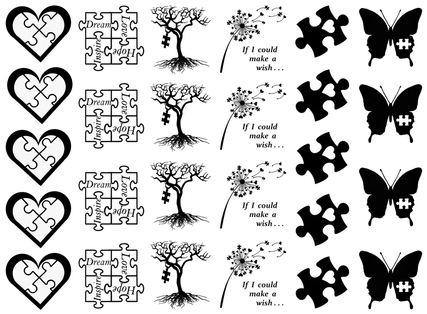 Autism Awareness Heart Puzzle Piece Black Or White Silk