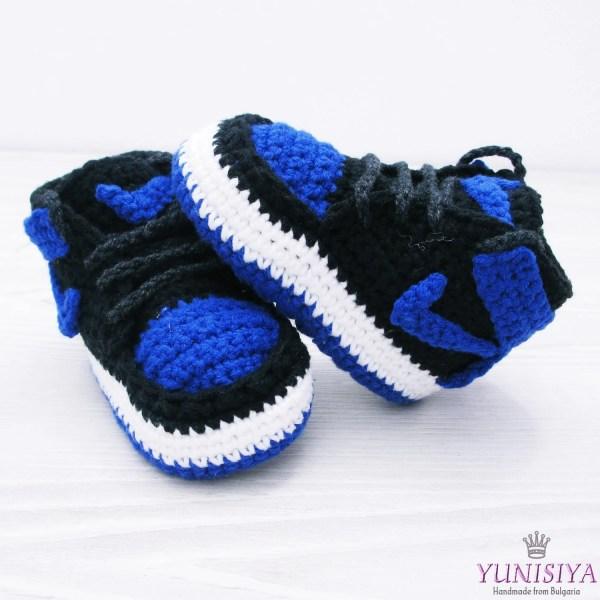 Blue Baby Booties Crochet Shoes Air Jordan Boy