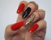 red coffin nails animal print stiletto
