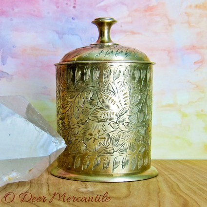 Made in India Etched Brass Round Trinket Box or Jar with Lid: By World Gift Z.Y.