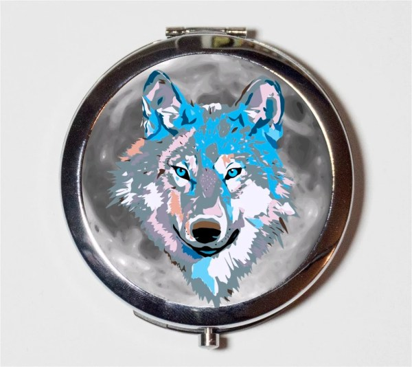 Wolf Compact Mirror Psychedelic Trippy Visionary Art Music
