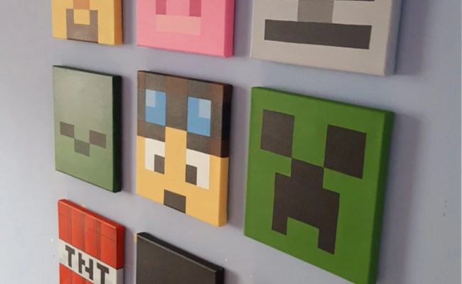 Minecraft Wall Art Set Of 9 Canvases Small 8 X