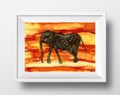 Elephant Painting Print, ...