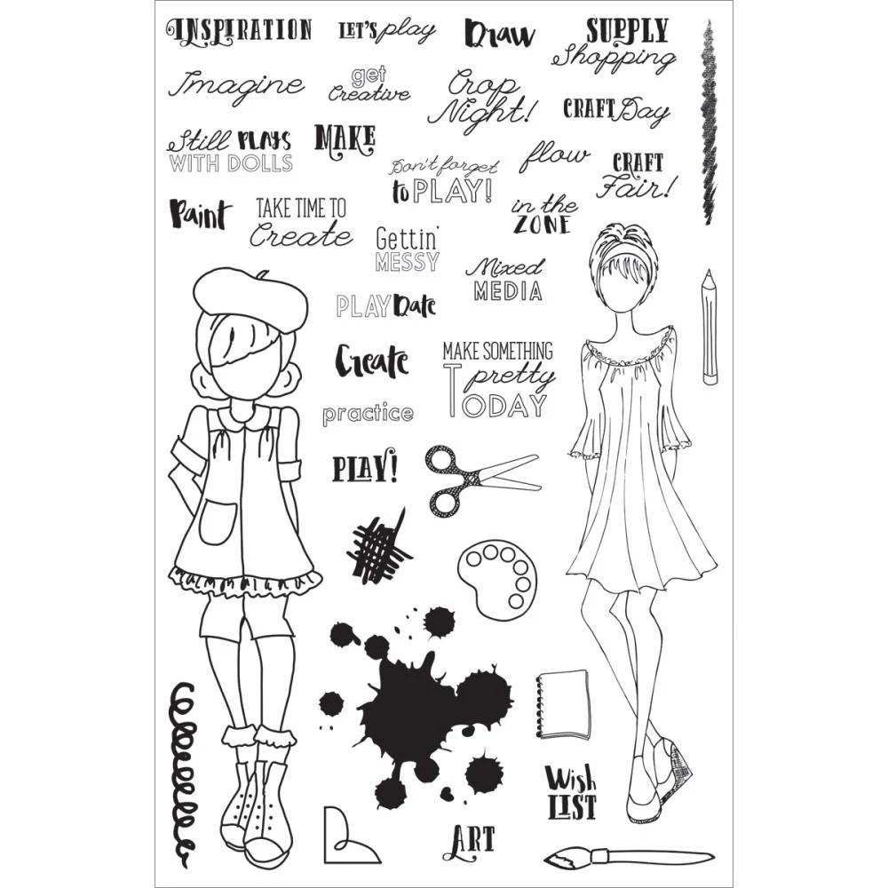 Julie Nutting Planner Stamps CRAFT DAY clear stamps, Prima