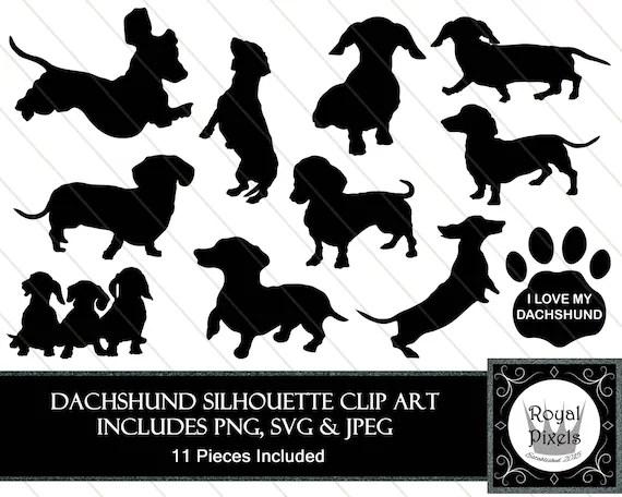 dachshund silhouette clip art set
