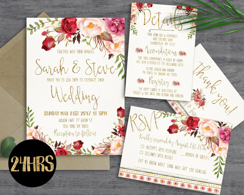 Printable wedding invitation Wedding invitations set