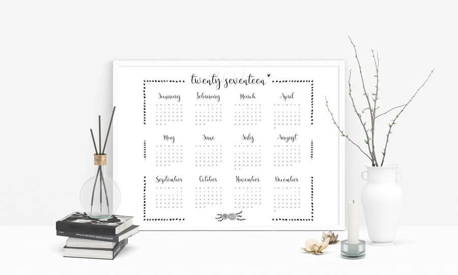 Yearly calendar 2017 Calendar printable Year at a glance