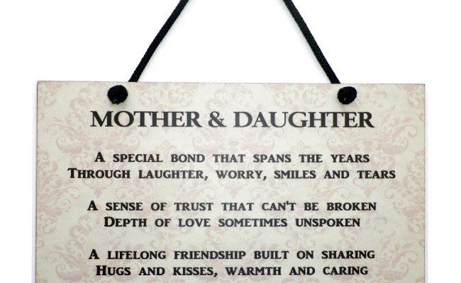 Mother And Daughter Gift Handmade Wooden Home Plaque Sign