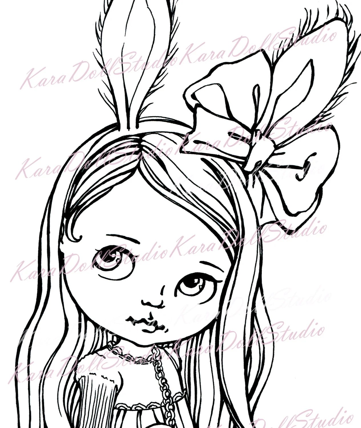 Cute Bunny Valentine's Digi Stamps, Blythe Doll Coloring