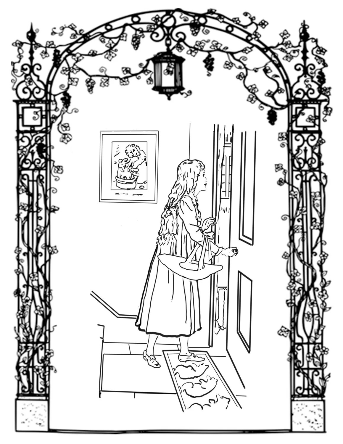 Girl At Door-A Hand Drawn Vintage Coloring Page from