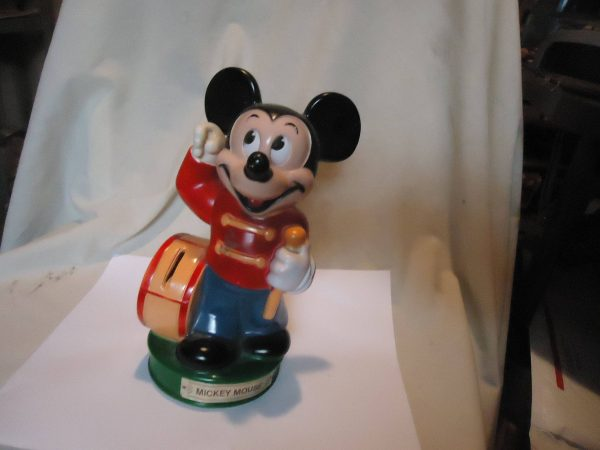 Vintage Disney Mickey Mouse Bank Marching Band Hard Plastic
