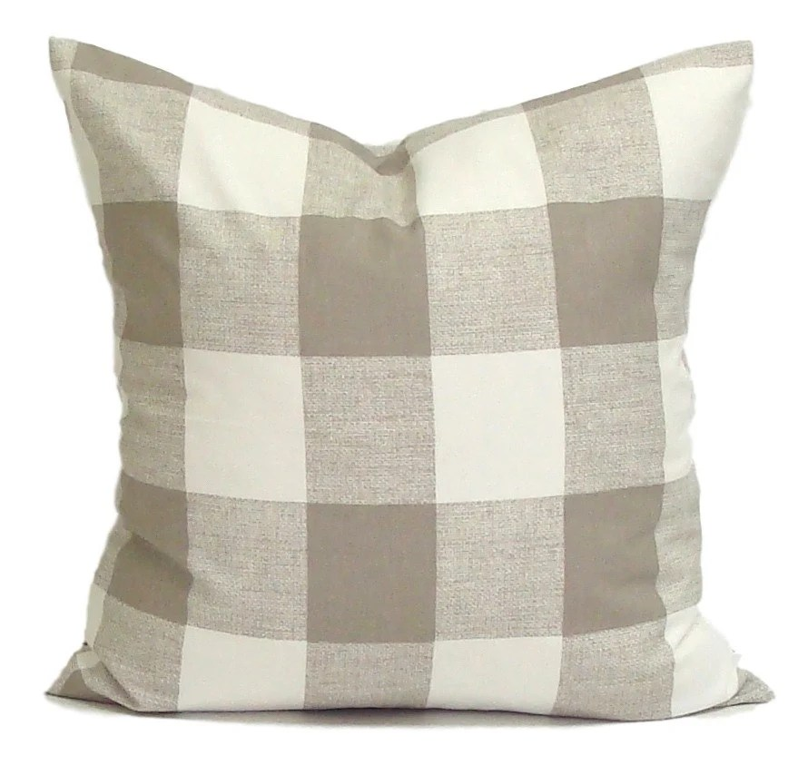 Pillow Tan Throw Pillow Pillow Cover Plaid Pillow Buffalo
