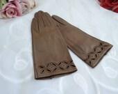 Vintage Womens Brown Leat...