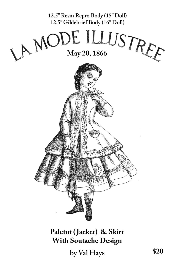 1860s Enfantine Soutache Suit Doll Clothes Pattern Fits