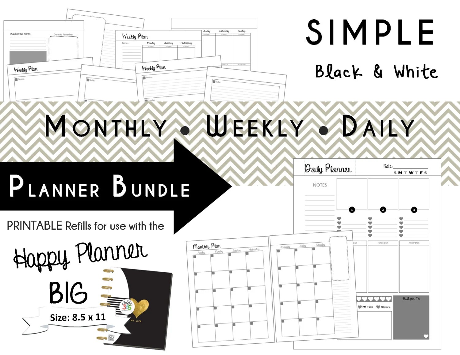 HAPPY PLANNER Daily Planner Refills Printable PDF Classic