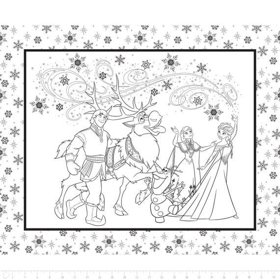 SALE!! Fabric Frozen Fabric Panel Disney Frozen Coloring