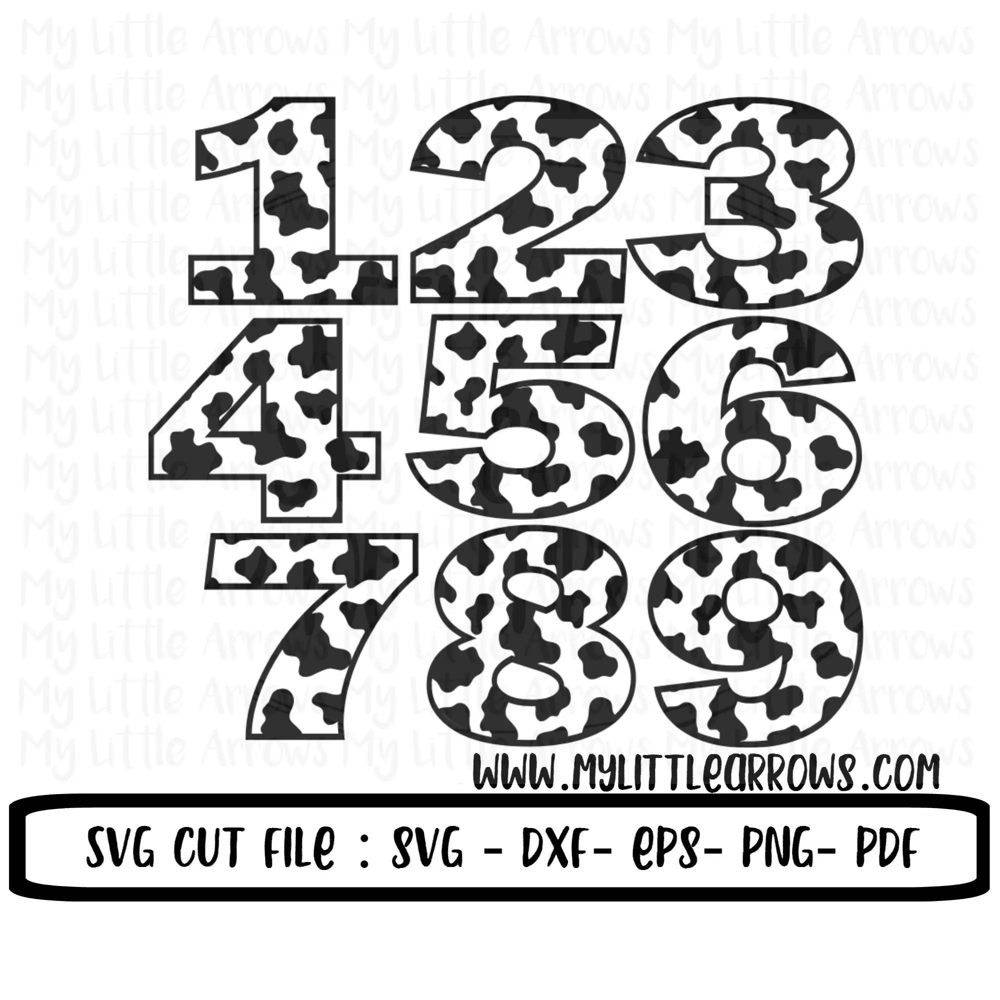 Cow Print Numbers Svg Dxf Eps Files For Cutting