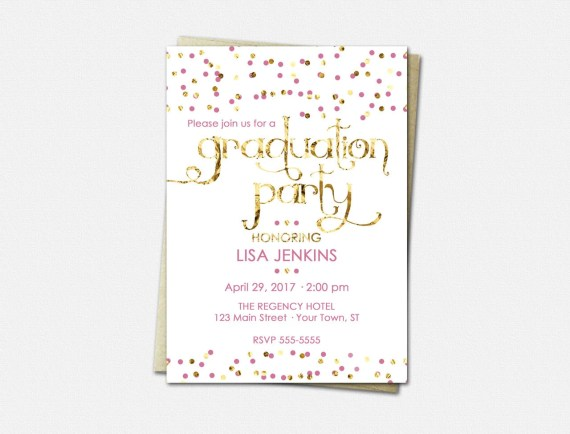 Graduation Party Invitations - High School Graduation Invitation - College Graduation Invitations - Color Choice - Graduation Invitations