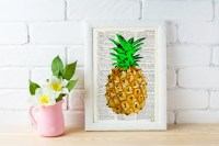 Pineapple Wall decor giclee print art Hipster pineapple