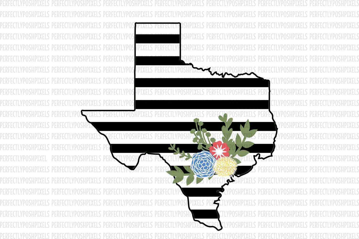 Texas Svg Black And White State Printable Clipart Floral Swag