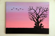 pink sunset tree silhouette painting