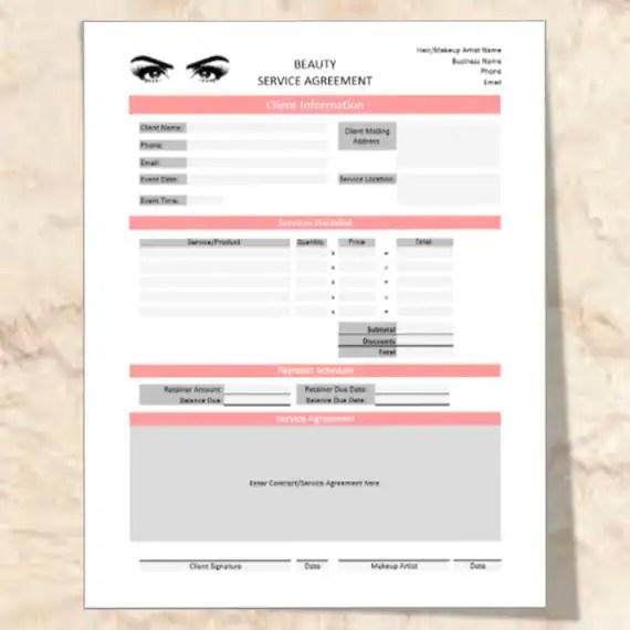 Sofortiger Download Makeup Artist  Hair Stylist Vertrag w